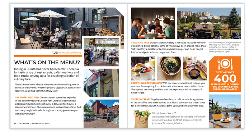 Duluth Visitor Guide: Dining page spread