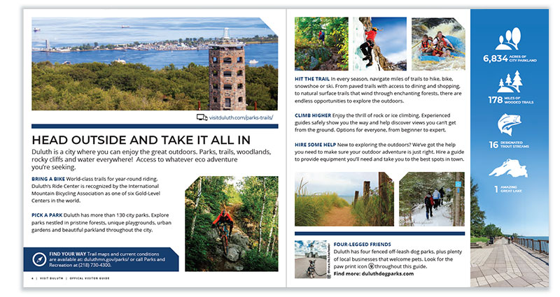Duluth Visitor Guide: Head Outside page spread