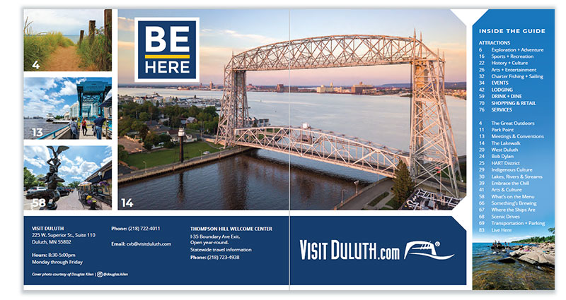Duluth Visitor Guide: Inside Cove page spread