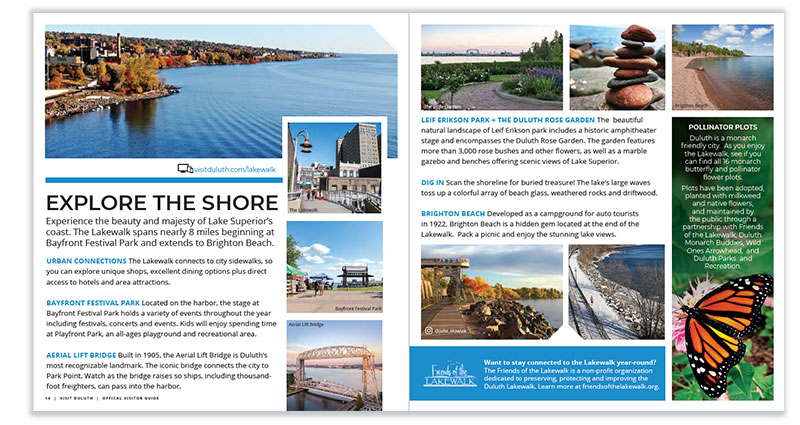 Duluth Visitor Guide: Explore the Shore page spread