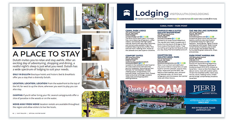 Duluth Visitor Guide: Lodging page spread