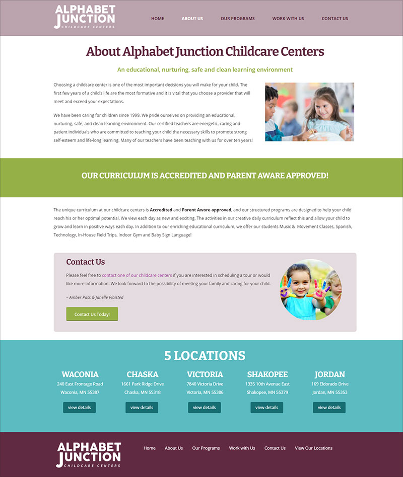 Alphabet Junction Childcare Centers - About Us Page