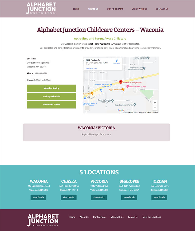 Alphabet JUnction Childcare Centers: Locations Page