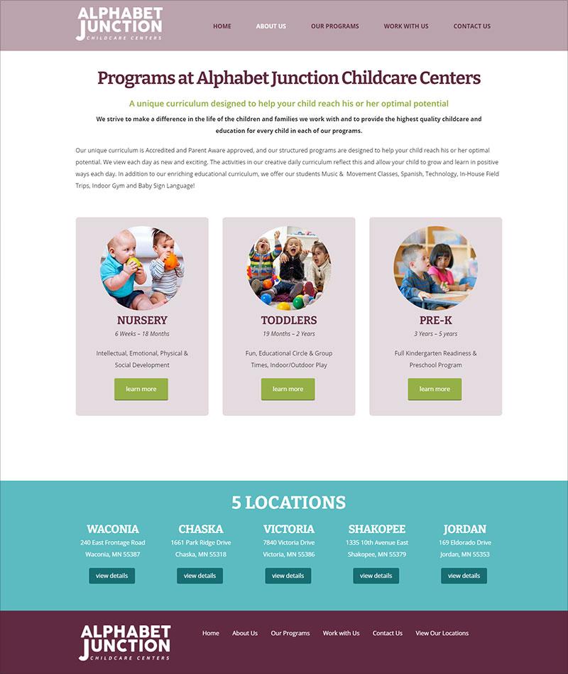 Alphabet Junction Childcare Centers: Programs Page