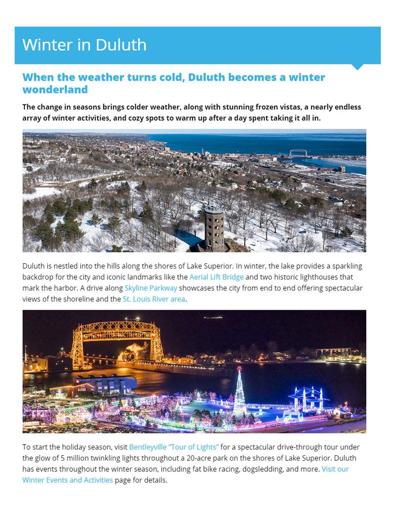 Visit Duluth Landing Page Layout