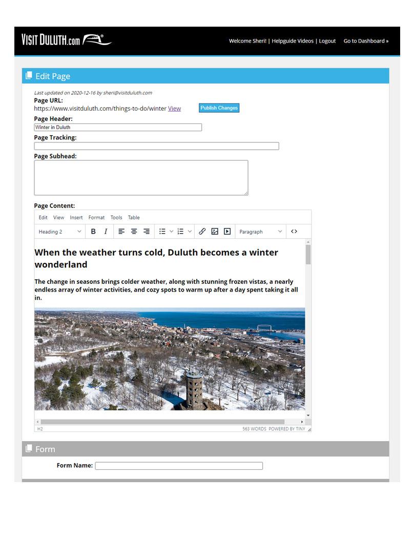 Visit Duluth Winter Admin page